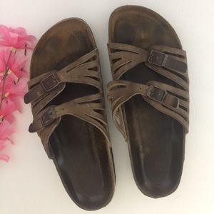 Authentic Birkenstock's Brown Leather Sandals 10